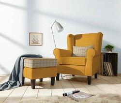 Kumaşçı Home - Döşemelik Sarı Keten Kumaş Liam 50-2200 (1)