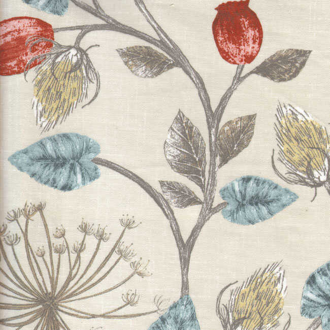 Pamuk Baskılı Keten Kumaş Çiçek Desenli 14