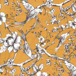 Kumaşçı Home - Pamuk Baskılı Keten Kuş Desenli Kumaş 06