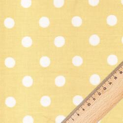 Kumaşçı Home - Pamuk Baskılı Keten Sarı Puantiyeli Kumaş 03