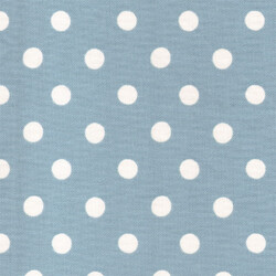 Kumaşçı Home - Pamuk Baskılı Keten Mavi Puantiyeli Kumaş